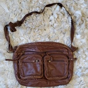 Brown faux leather cross body bag